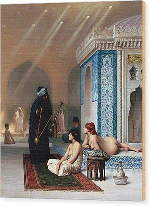 Pool In A Harem Wood Print by Munir Alawi