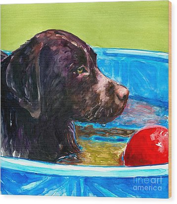 Pool Party Of One Wood Print by Molly Poole