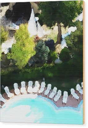 Wood Print featuring the painting Pool - Piscina by Ze  Di