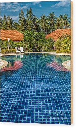 Pool Time Wood Print by Adrian Evans