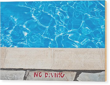 Poolside Warming Wood Print by Tom Gowanlock