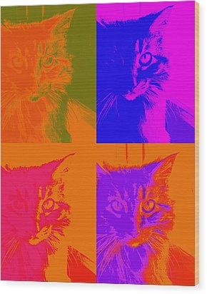 Pop Art Cat  Wood Print by Ann Powell