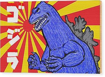 Pop Art Godzilla Wood Print by Gary Niles