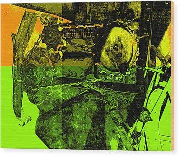 Pop Art Style Machine Gears Wood Print by Ann Powell