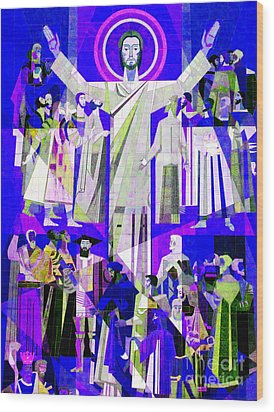 Pop Art Touchdown Jesus Mural At N D U Main Library Wood Print by Tina M Wenger