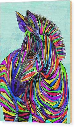 Pop Art Zebra Wood Print by Jane Schnetlage