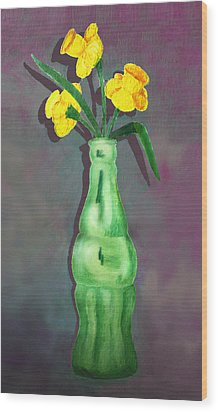 Pop Bottle Daffodil Wood Print by Ginny Schmidt