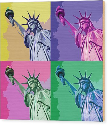 Pop Liberty Wood Print by Delphimages Photo Creations