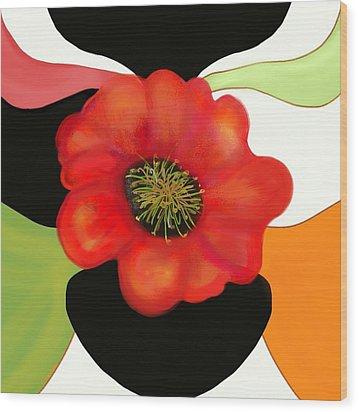 Pop Poppy Wood Print