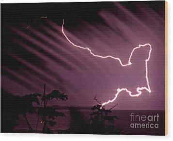 Popa Island Lightning Wood Print