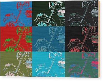 Popart Motorbike Wood Print