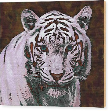 Popart White Tiger- Larger Wood Print by Jane Schnetlage