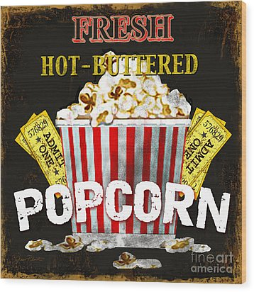 Popcorn Please Wood Print by Jean Plout
