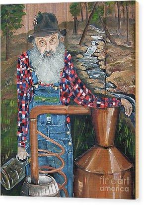 Wood Print featuring the painting Popcorn Sutton - Bootlegger - Still by Jan Dappen