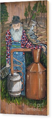 Wood Print featuring the painting Popcorn Sutton - Moonshiner - Redneck by Jan Dappen