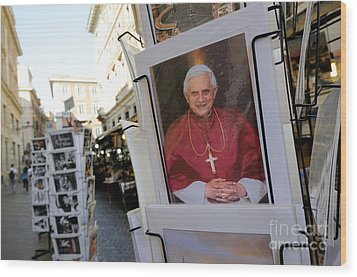 Pope Benedict Xvi. Postcard In A Rack. Rome. Lazio. Italy. Europe Wood Print by Bernard Jaubert