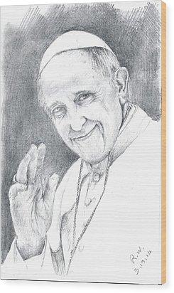 Pope Francis Wood Print by Rose Wang