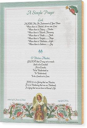 Pope Francis St. Francis Simple Prayer Florentine Angel Wood Print by Desiderata Gallery