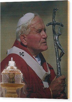 Pope John Paul I I Wood Print by Ramona Johnston