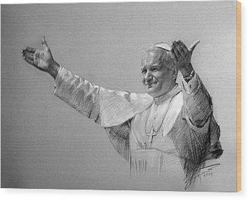 Pope John Paul II Bw Wood Print by Ylli Haruni
