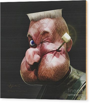 Wood Print featuring the painting Popeye Portrait by Dave Luebbert