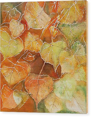 Poplar Leaves Wood Print by Susan Crossman Buscho