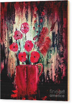 Wood Print featuring the painting Poppie Mix by Denise Tomasura