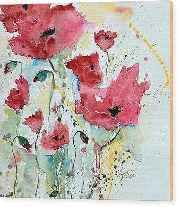 Poppies 05 Wood Print by Ismeta Gruenwald