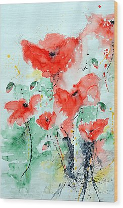 Poppies 06 Wood Print by Ismeta Gruenwald
