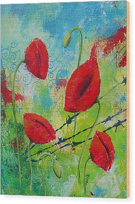Poppies And Barbed Wire Wood Print by Bitten Kari