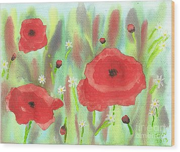 Poppies And Daisies Wood Print by John Williams