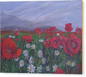 Poppies And Daisies Wood Print by Nina Mitkova