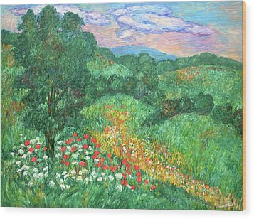 Poppies And Lace Wood Print by Kendall Kessler