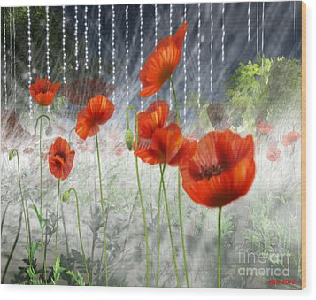 Wood Print featuring the digital art Poppies And Pearls by Susanne Baumann