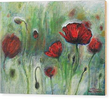 Poppies Wood Print by Arleana Holtzmann