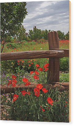 Poppies At The Farm Wood Print