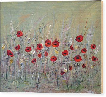 Wood Print featuring the painting Poppies by Dorothy Maier