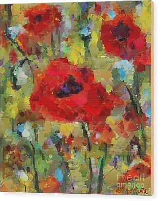 Poppies Wood Print by Dragica  Micki Fortuna