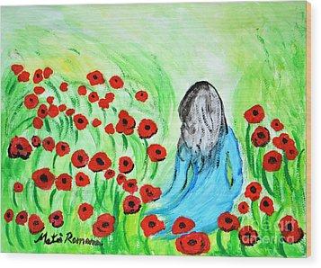Poppies Field Illusion Wood Print by Ramona Matei