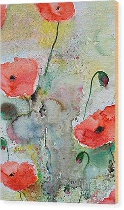 Poppies - Flower Painting Wood Print by Ismeta Gruenwald