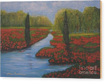 Poppies Guards Wood Print by Elena  Constantinescu