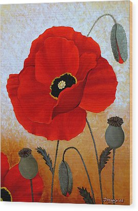 Poppies I Wood Print by Deyana Deco