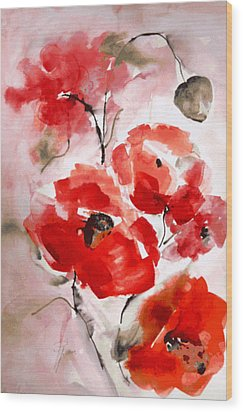 Poppies I Wood Print by Hedwig Pen