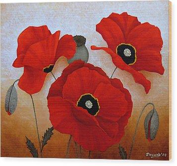 Poppies II Wood Print by Deyana Deco