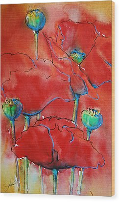 Wood Print featuring the painting Poppies II by Jani Freimann