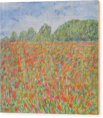 Poppies In A Field In Afghanistan Wood Print