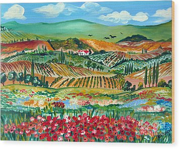 Poppies In Chianti Tuscany Wood Print