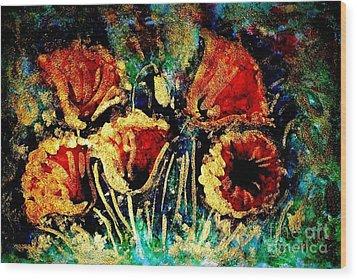 Poppies In Gold Wood Print by Zaira Dzhaubaeva