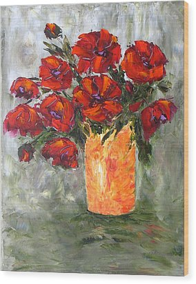 Poppies In Orange Vase Wood Print