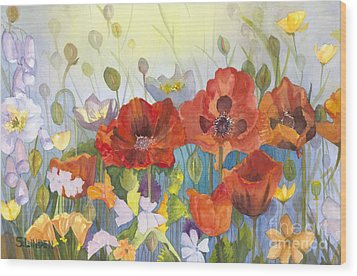 Poppies In The Light Wood Print by Sandy Linden
